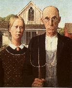 Grant Wood American Gothic oil painting