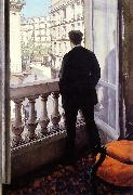 Gustave Caillebotte Young Man at his Window oil painting