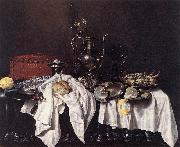 HEDA, Willem Claesz. Still-Life with Pie, Silver Ewer and Crab sg oil painting artist