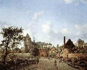 HEYDEN, Jan van der View of Delft sg oil painting