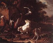 HONDECOETER, Melchior d Birds and a Spaniel in a Garden sf oil painting picture wholesale