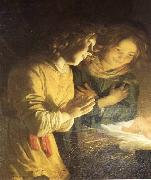 HONTHORST, Gerrit van Adoration of the Child (detail) sf oil painting