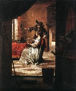 HOOCH, Pieter de Couple with Parrot sg oil painting