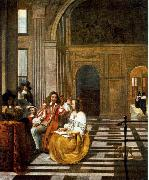 HOOCH, Pieter de Company Making Music af oil painting