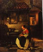 Henri Leys Woman Plucking a Chicken in a Courtyard oil painting picture wholesale