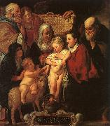 Jacob Jordaens The Holy Family with St.Anne, the Young Baptist and his Parents oil painting picture wholesale