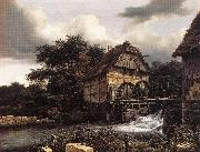 Jacob van Ruisdael Two Water Mills an Open Sluice oil painting picture wholesale