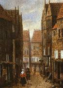 Jacobus Vrel Street Scene with Couple in Conversation oil painting
