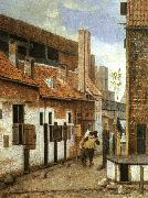 Jacobus Vrel Street Scene with Two Figures Walking Away oil painting