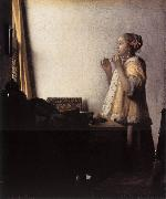 Jan Vermeer Woman with a Pearl Necklace oil painting picture wholesale