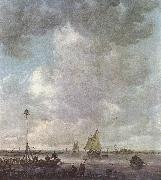 Jan van Goyen Marine Landscape with fishermen oil painting