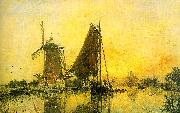 Johann Barthold Jongkind In Holland ; Boats near the Mill oil painting picture wholesale