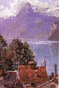 John Douglas Woodward Brunnen, Lake Lucerne oil painting picture wholesale