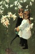 John Singer Sargent Garden Study of the Vickers Children oil painting picture wholesale