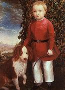 Joseph Whiting Stock Portrait of a Boy with a Dog oil painting