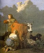 Karel Dujardin Woman Milking a Red Cow oil painting