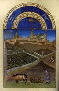 LIMBOURG brothers Les trs riches heures du Duc de Berry: Mars (March) wf oil painting picture wholesale