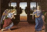 LORENZO DI CREDI Annunciation (detail) sg oil painting