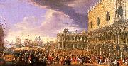 Luca Carlevaris Entry of the Earl of Manchester into the Doge's Palace oil painting