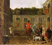 Ludolf de Jongh Hunting Party in the Courtyard of a Country House oil painting