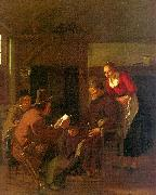 Ludolf de Jongh Messenger Reading to a Group in a Tavern oil painting
