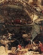MARIESCHI, Michele The Rialto Bridge in Venice (detail) ag oil painting picture wholesale