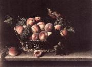 Basket with Peaches and Grapes s