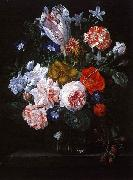Nicolaes Van Verendael A Tulip, Carnations and Morning Glory in a Glass Vase oil painting artist