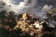 Roelant Savery Horses and Oxen Attacked by Wolves oil painting artist