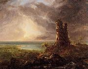 Thomas Cole Romantic Landscape with Ruined Tower oil painting