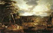 UDEN, Lucas van Landscape with the Flight into Egypt  wt oil painting