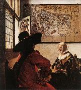 VERMEER VAN DELFT, Jan Officer with a Laughing Girl oil painting picture wholesale