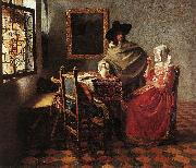 VERMEER VAN DELFT, Jan A Lady Drinking and a Gentleman wr oil painting picture wholesale