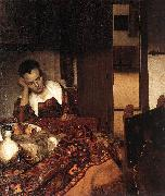 VERMEER VAN DELFT, Jan A Woman Asleep at Table wet oil painting picture wholesale