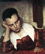 VERMEER VAN DELFT, Jan A Woman Asleep at Table (detail) atr oil painting picture wholesale