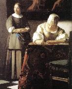 VERMEER VAN DELFT, Jan Lady Writing a Letter with Her Maid (detail)  ert oil painting picture wholesale