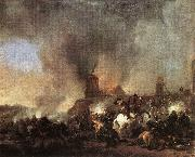 Cavalry Battle in front of a Burning Mill tfur