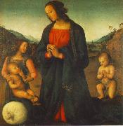 PERUGINO, Pietro Madonna, an Angel and Little St John Adoring the Child (Madonna del sacco) R oil painting reproduction