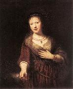 REMBRANDT Harmenszoon van Rijn Portrait of Saskia with a Flower oil painting picture wholesale