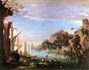 ROSA, Salvator Harbour with Ruins af oil painting picture wholesale
