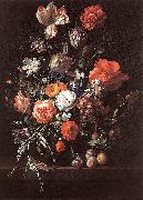 RUYSCH, Rachel Still-Life with Bouquet of Flowers and Plums af oil painting picture wholesale