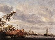 RUYSDAEL, Salomon van River Scene with Farmstead a oil painting picture wholesale