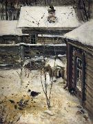 A.K.Cabpacob Yard-Winter oil painting reproduction