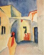 August Macke Bilck in eine Gasse in Tunis oil painting reproduction