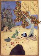 Bihzad The saintly Bishr fishes up the corpse of the blaspheming Malikha from the magic well which is the fount fo life oil painting reproduction
