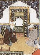Bihzad A shaykh in the prayer niche of a mosque oil painting reproduction
