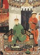 Bihzad Timur enthroned and holding the white kerchief of rule oil painting