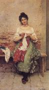 Eugene de Blaas THe Seamstress oil painting
