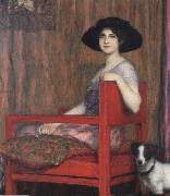Fernand Khnopff Mary von Stuck in a Red Armchair oil painting reproduction