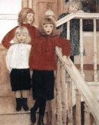 Fernand Khnopff Portrait of the Children of Louis Neve oil painting reproduction
